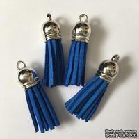 Подвеска - Кисточка из замши с серебристым наконечником, 35х10 мм, цвет королевский синий