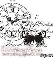Акриловый штамп KOL001 Коллаж бабочка часы, размер 5,3 * 5 см