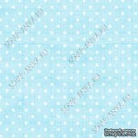 Скрапбумага для форзацев Коллекция 11_04., Горошки на ярко-голубом, односторонняя, 20х29 см