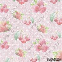 Скрапбумага для форзацев Коллекция 12_01., Клубника на нежно-розовом в горошек, односторонняя, 20х29 см