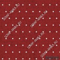 Скрапбумага для форзацев Коллекция 13_01., Горошки на бордовом, односторонняя, 20х29 см