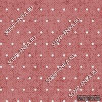 Скрапбумага для форзацев Коллекция 13_02., Горошки на терракотово-розовом, односторонняя, 20х29 см