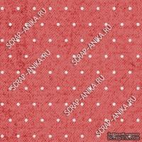 Скрапбумага для форзацев Коллекция 13_04., Горошки на спокойно-красном, односторонняя, 20х29 см