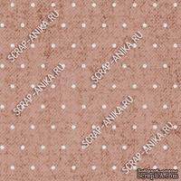 Скрапбумага для форзацев Коллекция 13_25., Горошки на коричнево-розовом, односторонняя, 20х29 см
