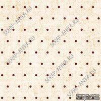 Скрапбумага для форзацев Коллекция 13_26., Горошки коричневые на бежевом, односторонняя, 20х29 см