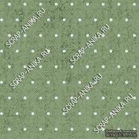Скрапбумага для форзацев Коллекция 13_29., Горошки на спокойно-зеленом, односторонняя, 20х29 см