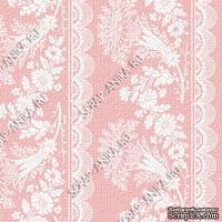 Скрапбумага для форзацев Коллекция 14_1., Растительный узор с кружевом белый на розовом, односторонняя, 20х29 см