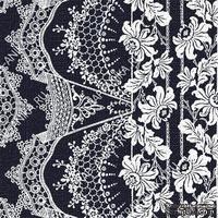 Скрапбумага для форзацев Коллекция 14_10., Кружево с цветами белое на темно-сине-черном, односторонняя, 20х29 см