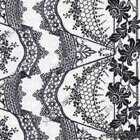 Скрапбумага для форзацев Коллекция 14_11., Кружево с цветами темно-сине-черное на белом, односторонняя, 20х29 см