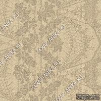 Скрапбумага для форзацев Коллекция 14_13., Кружево с цветами коричневое на кофейном, односторонняя, 20х29 см