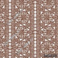 Скрапбумага для форзацев Коллекция 14_16., Кружево с кругами коричневое на белом, односторонняя, 20х29 см