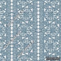 Скрапбумага для форзацев Коллекция 14_19., Кружево с кругами спокойно-синее на белом, односторонняя, 20х29 см