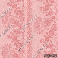 Скрапбумага для форзацев Коллекция 14_2., Растительный узор с кружевом розовый на розовом, односторонняя, 20х29 см