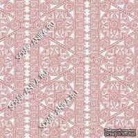 Скрапбумага для форзацев Коллекция 14_20., Кружево с кругами розовое на белом, односторонняя, 20х29 см