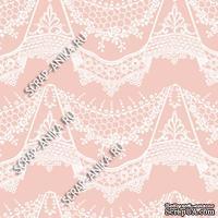 Скрапбумага для форзацев Коллекция 14_22., Кружево с подвесками белое на розовом, односторонняя, 20х29 см