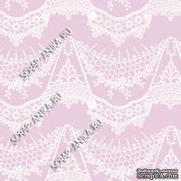 Скрапбумага для форзацев Коллекция 14_24., Кружево с подвесками белое на розово-сиреневом, односторонняя, 20х29 см