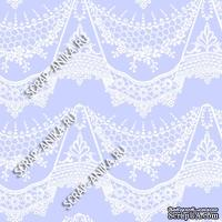 Скрапбумага для форзацев Коллекция 14_26., Кружево с подвесками белое на сине-голубом, односторонняя, 20х29 см
