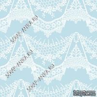 Скрапбумага для форзацев Коллекция 14_27., Кружево с подвесками белое на нежно-голубом, односторонняя, 20х29 см