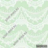 Скрапбумага для форзацев Коллекция 14_28., Кружево с подвесками белое на нежно-салатовом, односторонняя, 20х29 см
