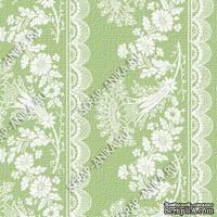 Скрапбумага для форзацев Коллекция 14_3., Растительный узор с кружевом белый на зеленом, односторонняя, 20х29 см
