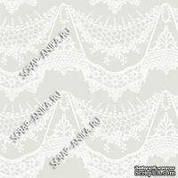 Скрапбумага для форзацев Коллекция 14_30., Кружево с подвесками белое на сером, односторонняя, 20х29 см