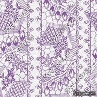 Скрапбумага для форзацев Коллекция 14_6., Кружево с сетками фиолетовое на белом, односторонняя, 20х29 см