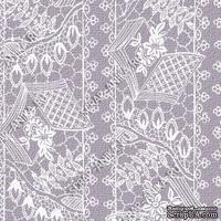 Скрапбумага для форзацев Коллекция 14_8., Кружево с сетками белое на сером, односторонняя, 20х29 см