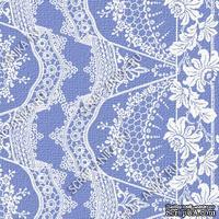Скрапбумага для форзацев Коллекция 14_9, Кружево с цветами белое на синем, односторонняя, 20х29 см
