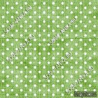 Скрапбумага для форзацев Коллекция 16_01., Горошки на ярко-зеленом, односторонняя, 20х29 см