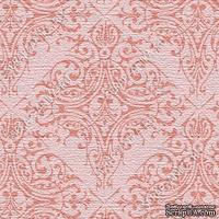 Скрапбумага для форзацев Коллекция 17_05., Узор восточный бежево-розовый на бежево-розовом, односторонняя, 20х29 см