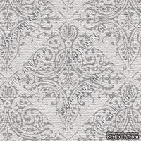 Скрапбумага для форзацев Коллекция 17_06., Узор восточный серый на сером, односторонняя, 20х29 см