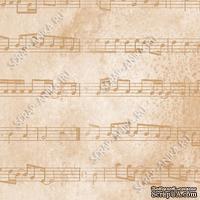 Скрапбумага для форзацев Коллекция 2_3, Ноты на коричневом, односторонняя, 20х29 см