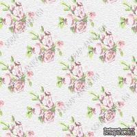 Скрапбумага для форзацев Коллекция 5_3, Цветы мелкие на сером, односторонняя, 20х29 см