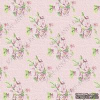 Скрапбумага для форзацев Коллекция 5_4., Цветы мелкие на розовом, односторонняя, 20х29 см