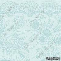 Скрапбумага для форзацев Коллекция 6_5., Цветочные узоры на голубом, односторонняя, 20х29 см