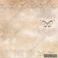 Скрапбумага для форзацев Коллекция 7_1., Бабочка на коричневом, односторонняя, 20х29 см