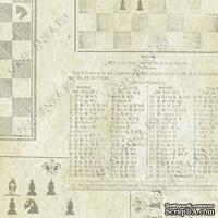 Скрапбумага для форзацев Коллекция 8_3, Шахматы на сером, односторонняя, 20х29 см