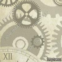 Скрапбумага для форзацев Коллекция 8_4, Шестеренки на сером, односторонняя, 20х29 см