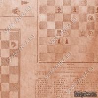 Скрапбумага для форзацев Коллекция 9_3, Шахматы на коричневом, односторонняя, 20х29 см