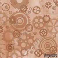Скрапбумага для форзацев Коллекция 9_4, Шестеренки на коричневом, односторонняя, 20х29 см