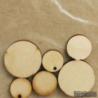 Деревянные украшения Круги, 6 штук