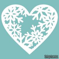 Чипборд от Вензелик - Сердце заснеженное, размер: 47*53 мм