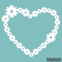 Чипборд от Вензелик - Сердце с цветочками, размер: 65*74 мм
