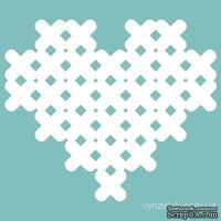 Чипборд от Вензелик - Сердечко вышитое маленькое, размер: 31*36 мм