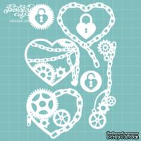 Чипборд от Вензелик - Набор сердец стимпанк, размер: 9,7 x 14,5 см