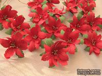 Уютный декор от LESHCHENKO - Набор бумажных цветов «Пуансеттия 03», ярко - красные с зелеными листьями, 4 шт.