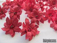 Уютный декор от LESHCHENKO - Набор бумажных цветов «Пуансеттия 04», темно - красные , 4 шт.