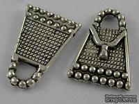 "Металлическое украшение ""Сумочка"", серебро, размер 16,5х12 мм, 1 шт"