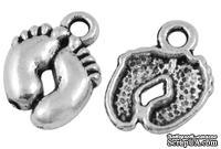 """Металлическое украшение """"Ножки"""", античное серебро, размер 14х10 мм, 1 шт"""
