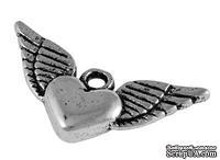 """Металлическое украшение """"Сердце"""", античное серебро, размер 13х25 мм, 1 шт - ScrapUA.com"""